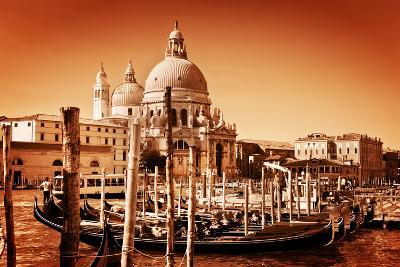 Venice, Italy. Gondolas on Grand Canal and Basilica Santa Maria Della Salute. Vintage Style, Golden-Michal Bednarek-Photographic Print