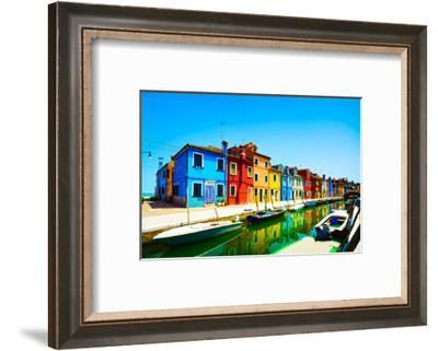 Venice Landmark, Burano Island Canal, Colorful Houses and Boats, Italy-stevanzz-Framed Photographic Print