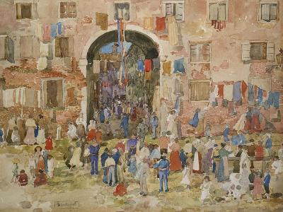 Venice: Riva Degli Schiavone, Castello, 1898-Maurice Brazil Prendergast-Giclee Print