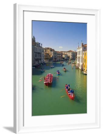 Venice, Veneto, Italy. Historical Regatta Event on the Grand Canal-Marco Bottigelli-Framed Photographic Print
