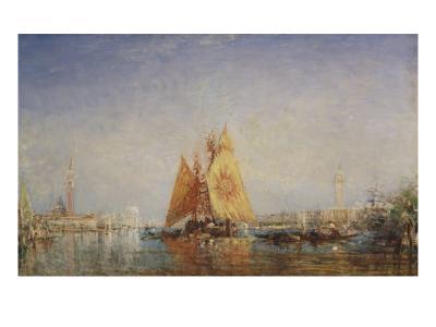 Venise, Trabacco à la voile jaune-F?lix Ziem-Giclee Print