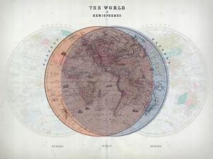 Venn Diagram of Humans - 1873, The World in Hemispheres Map