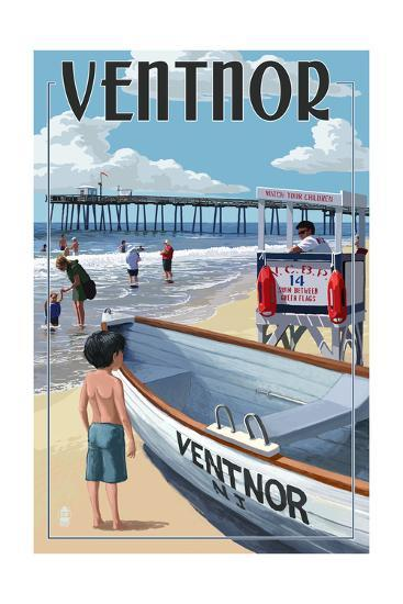 Ventnor, New Jersey - Lifeguard Stand-Lantern Press-Art Print