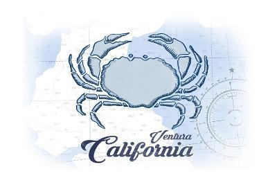 Ventura, California - Crab - Blue - Coastal Icon-Lantern Press-Art Print