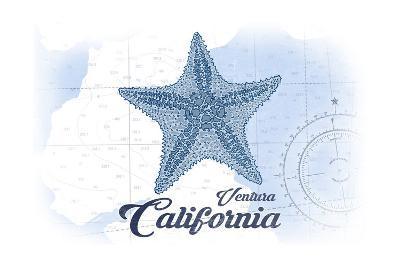 Ventura, California - Starfish - Blue - Coastal Icon-Lantern Press-Art Print