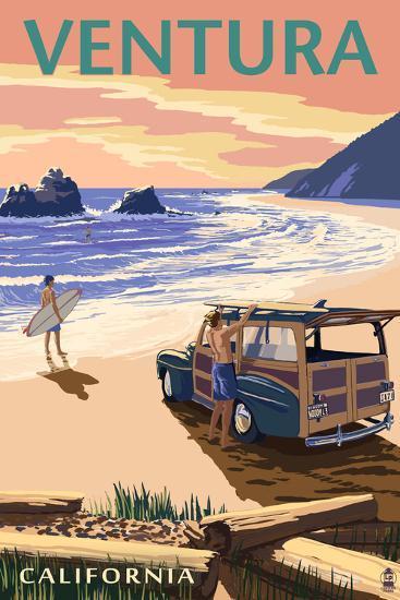 Ventura, California - Woody on the Beach-Lantern Press-Wall Mural