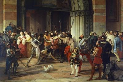 Ventura Fenaroli Arrested in the Carmine Church in Brescia by the French, 1834-Francesco Liani-Giclee Print