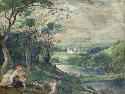 Venus and Adonis in Wooded Landscape Near Beersel Castle-Niederländischer Meister-Giclee Print