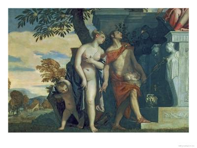 Venus and Mercury Presenting Her Son Anteros to Jupiter-Paolo Veronese-Giclee Print