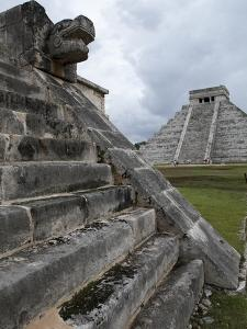Venus Platform With Kukulkan Pyramid in the Background, Chichen Itza, Yucatan, Mexico