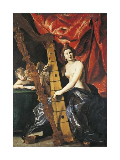 Venus Playing Harp, Allegory of Music-Giovanni Lanfranco-Giclee Print