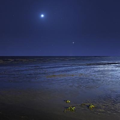 Venus Shines Brightly Below the Crescent Moon from Coast of Buenos Aires, Argentina-Stocktrek Images-Photographic Print