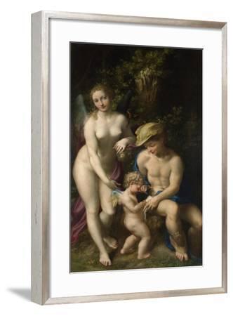 Venus with Mercury and Cupid (The School of Love), C. 1525-Correggio-Framed Giclee Print