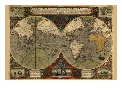 Vera Totius Expeditionis Nautica (World Map)-Abraham Ortelius-Art Print