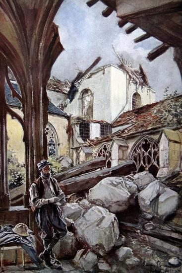 Verdun Cathedral after a German Bombing, 1914-Francois Flameng-Giclee Print