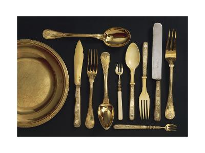 Vermeil Cutlery Set with Case--Giclee Print