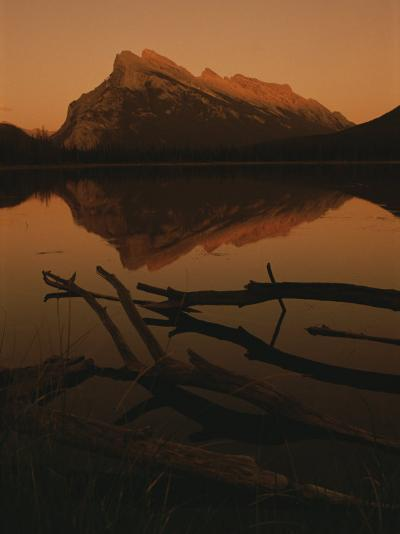 Vermilion Lakes at Sunset with Mount Rundle in the Background-Raymond Gehman-Photographic Print