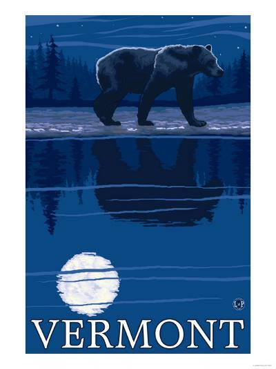 Vermont - Bear in the Moonlight-Lantern Press-Art Print