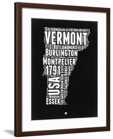 Vermont Black and White Map-NaxArt-Framed Art Print