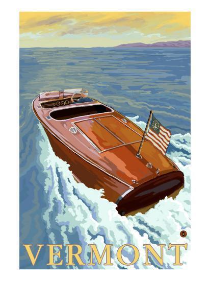 Vermont, Chris Craft Boat-Lantern Press-Art Print