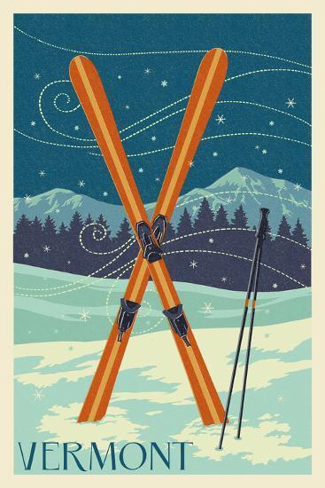 Vermont - Crossed Skis - Letterpress-Lantern Press-Art Print