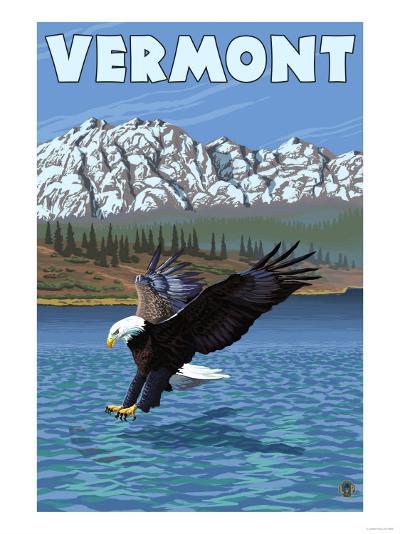 Vermont - Eagle Fishing-Lantern Press-Art Print