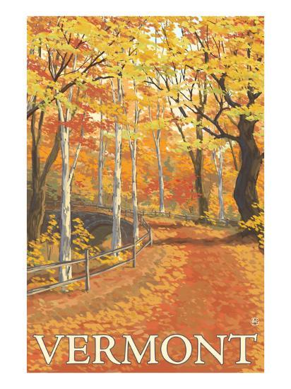 Vermont, Fall Colors Scene-Lantern Press-Art Print