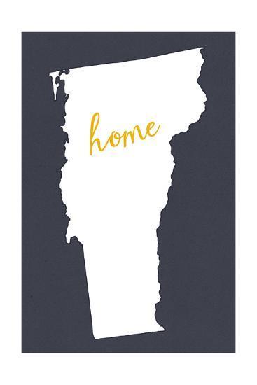 Vermont - Home State - White on Gray-Lantern Press-Art Print