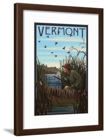 Vermont - Hunter and Lake-Lantern Press-Framed Art Print