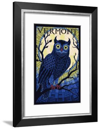 Vermont - Owl Mosaic-Lantern Press-Framed Art Print