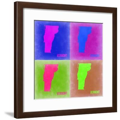 Vermont Pop Art Map 2-NaxArt-Framed Premium Giclee Print