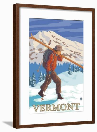 Vermont - Skier Carrying Skis-Lantern Press-Framed Art Print