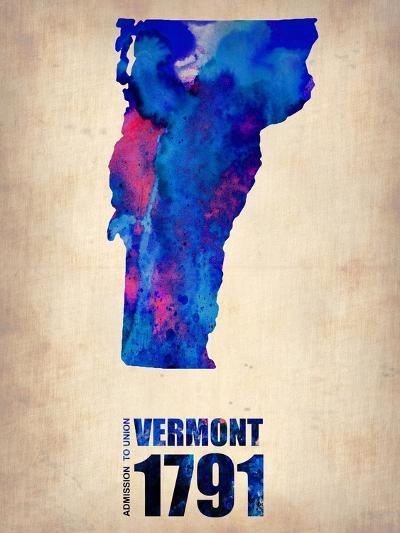 Vermont Watercolor Map-NaxArt-Art Print