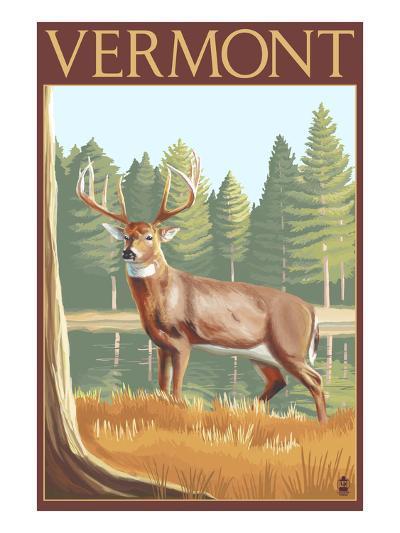 Vermont - White-Tailed Deer-Lantern Press-Art Print