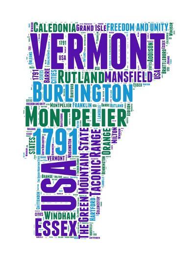 Vermont Word Cloud Map-NaxArt-Art Print