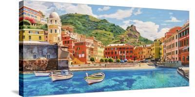 Vernazza nel sole-Adriano Galasso-Stretched Canvas Print