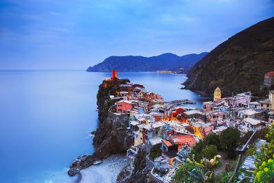 Vernazza Village, Aerial View on Sunset. Cinque Terre, Ligury, Italy-stevanzz-Photographic Print