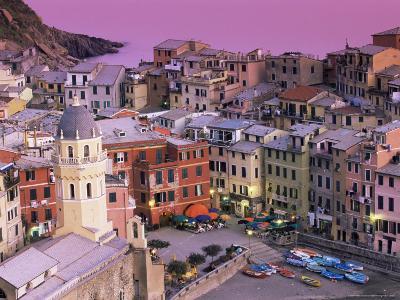 Vernazza Village and Harbour at Dusk, Cinque Terre, Unesco World Heritage Site, Liguria, Italy-Patrick Dieudonne-Photographic Print