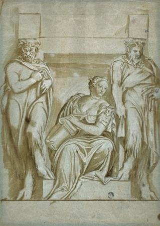 Fortitude (Or Strength) Flanked by Two Satyrs