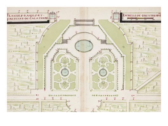 Versailles, Manuscript Plans of the Gardens of Versailles, c.1688-1711--Giclee Print