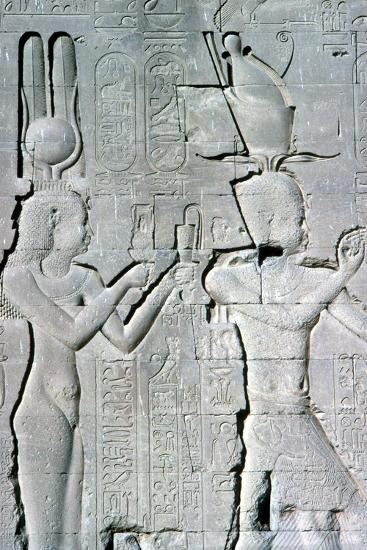 Vertical detail of a relief of Cleopatra and Caesarion, Temple of Hathor, Dendera, c125 BC-c60 AD-Unknown-Giclee Print