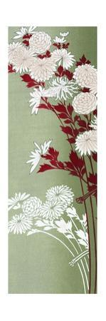 Vertical Floral Print on Green with Leaves in Red