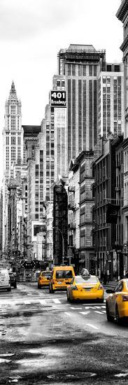 Vertical Panoramic - Door Posters - NYC Yellow Taxis / Cabs on Broadway Avenue in Manhattan-Philippe Hugonnard-Photographic Print