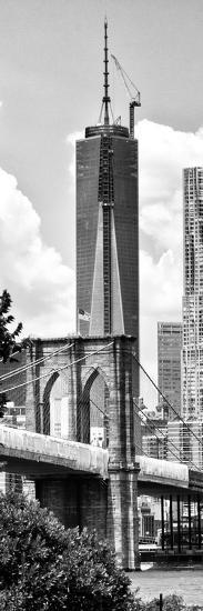 Vertical Panoramic View of Brooklyn Bridge View and One World Trade Center, Manhattan, NYC-Philippe Hugonnard-Photographic Print