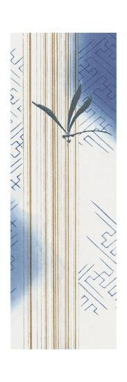 Vertical Pattern with Leaf in Blue--Art Print