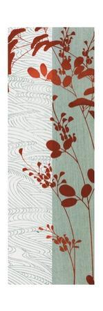 Vertical Pattern with Leaves in Red