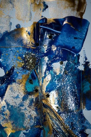 Very Beautiful Art Abstract Background Blue And Gold Paint Golden Sequins Art Print By Caracolla Art Com