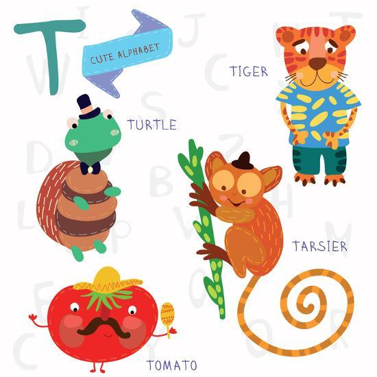 Very Cute Alphabet.T Letter. Tarsier,Turtle, Tomatoes, Tiger.-Ovocheva-Art Print