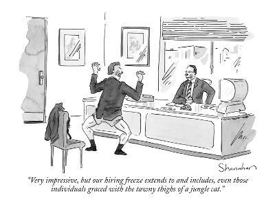 """""""Very impressive, but our hiring freeze extends to and includes, even thos?"""" - New Yorker Cartoon-Danny Shanahan-Premium Giclee Print"""