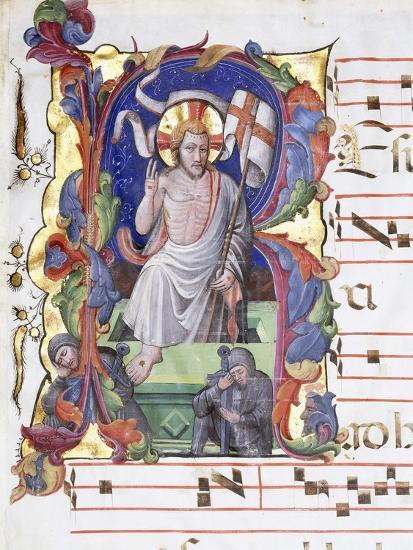 Very Large Historiated Letter 'A', Showing the Resurrection, C.1400-1450--Giclee Print